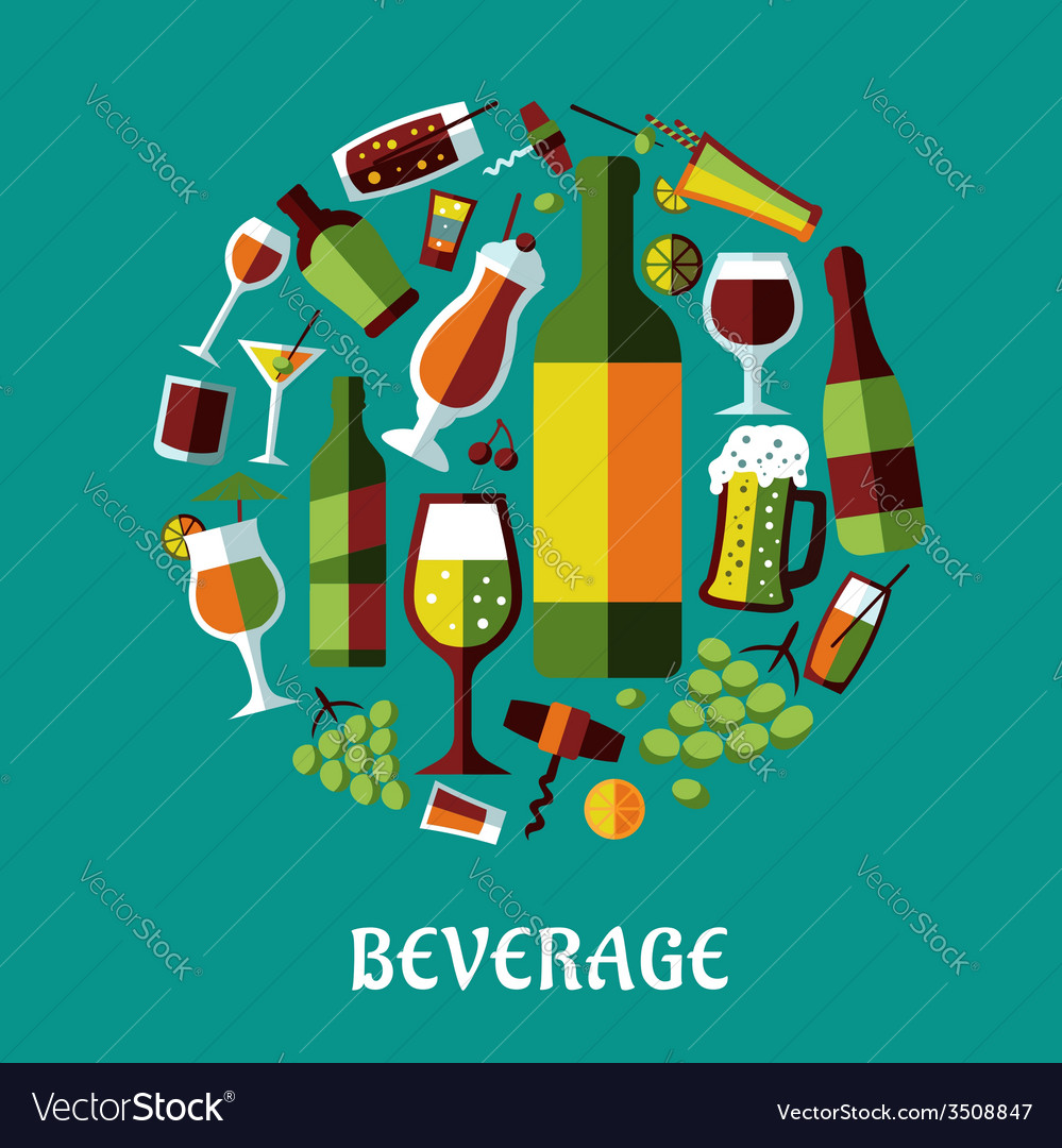 Beverage flat design poster vector | Price: 1 Credit (USD $1)