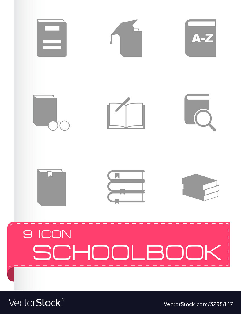 Black schoolbook icon set vector | Price: 1 Credit (USD $1)