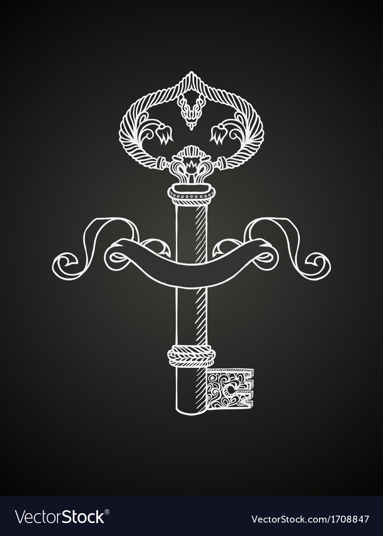 Chalk drawing of key on chalkboard vector   Price: 1 Credit (USD $1)