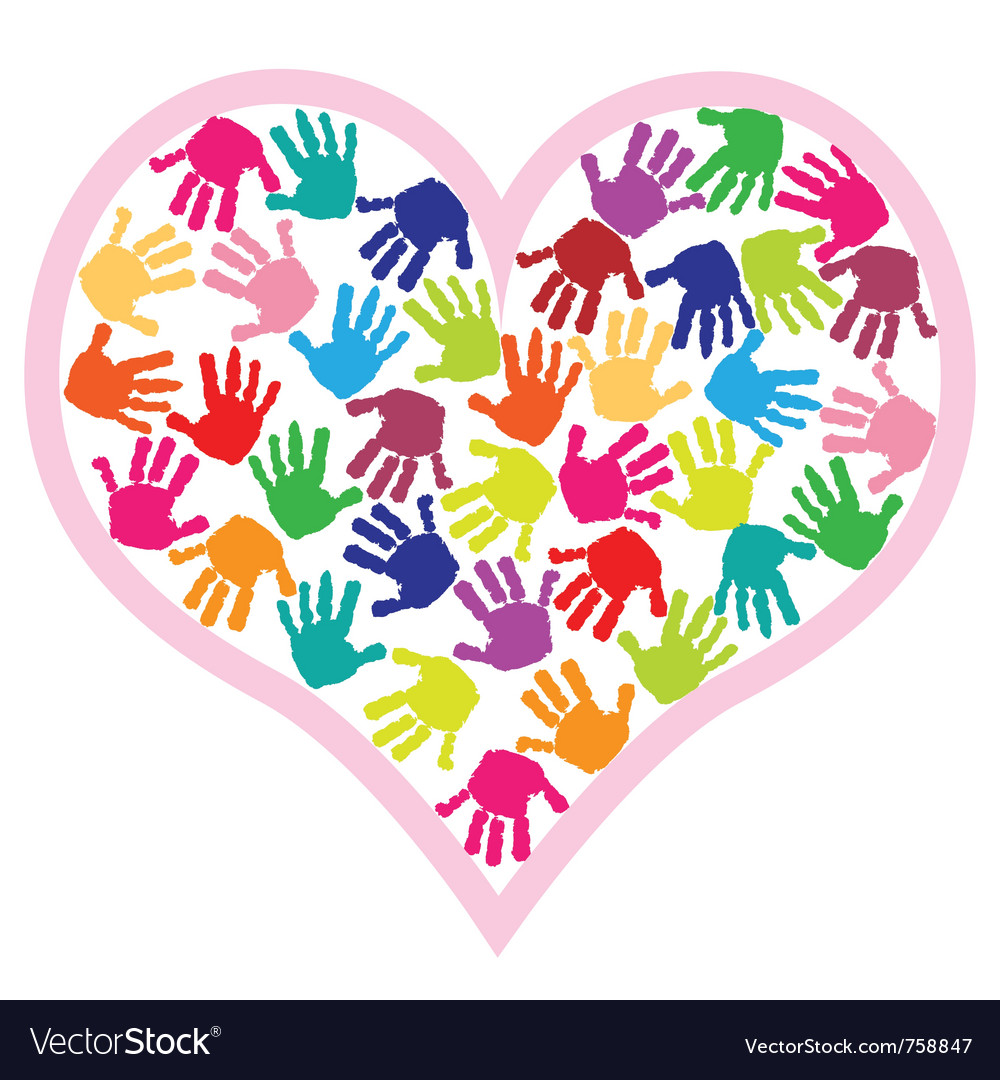 Children hand prints in the heart vector | Price: 1 Credit (USD $1)