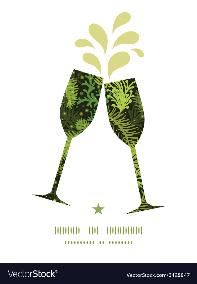 Evergreen christmas tree toasting wine glasses vector | Price: 1 Credit (USD $1)