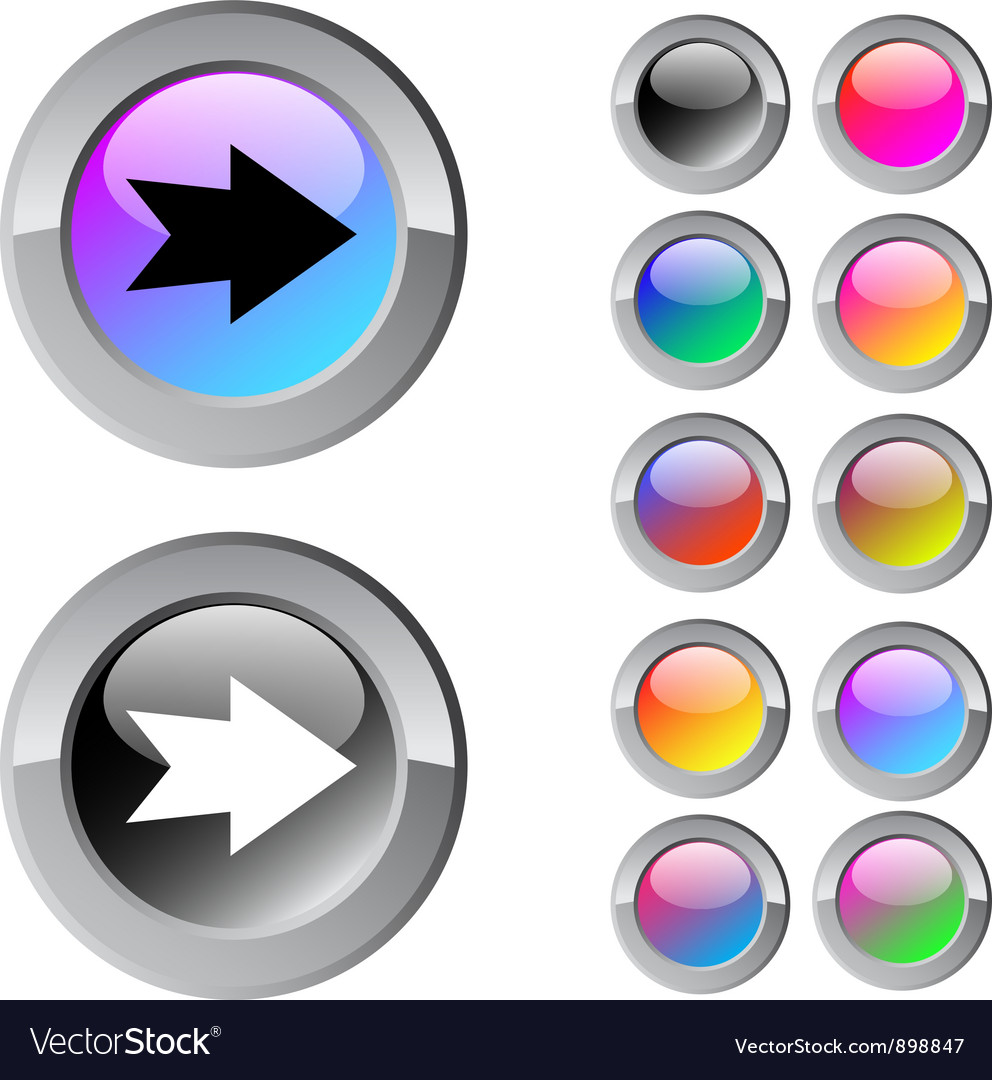 Forward arrow multicolor round button vector | Price: 1 Credit (USD $1)