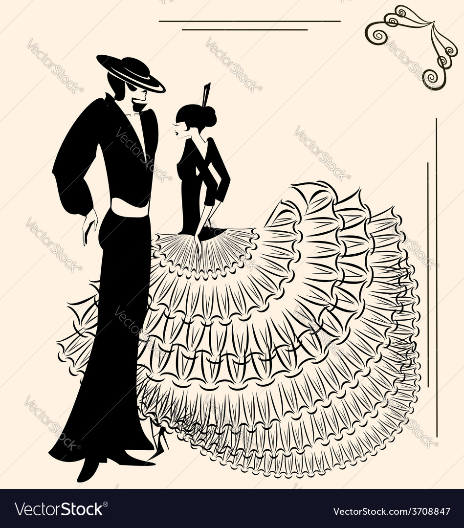Image of two flamenco dancers vector | Price: 1 Credit (USD $1)