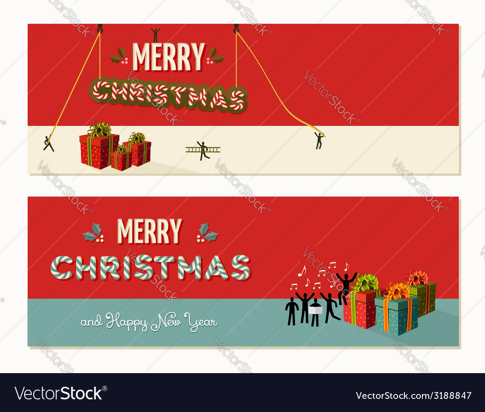 Merry christmas teamwork cooperation vector | Price: 1 Credit (USD $1)