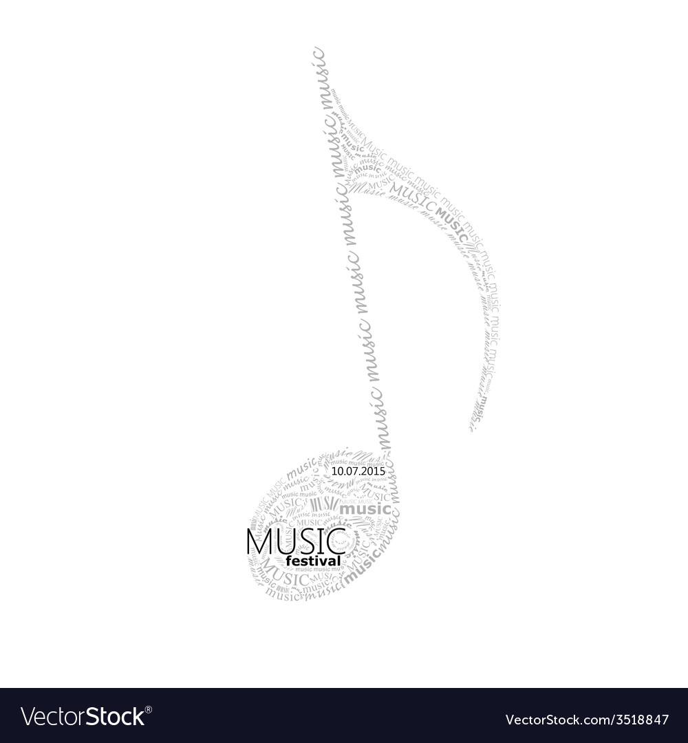 Music of a music note sign made of different fonts vector | Price: 1 Credit (USD $1)
