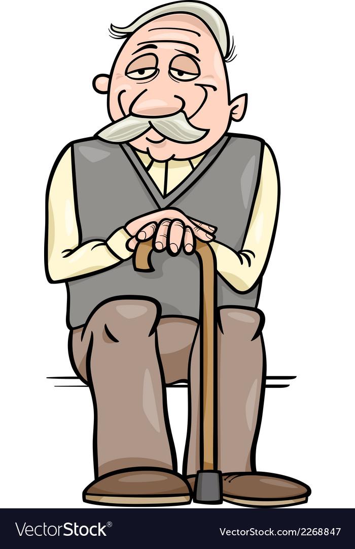 Senior with cane cartoon vector   Price: 1 Credit (USD $1)