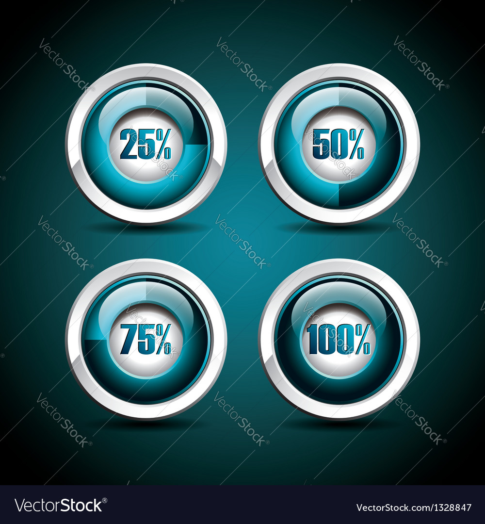 Shiny progress indicator set on a dark background vector | Price: 1 Credit (USD $1)