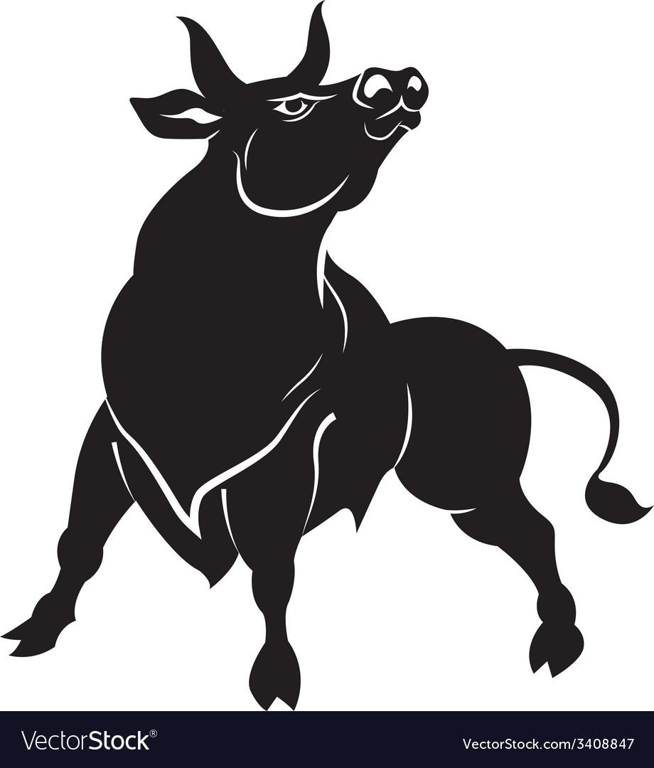 Silhuette of black aggressive bull vector | Price: 1 Credit (USD $1)