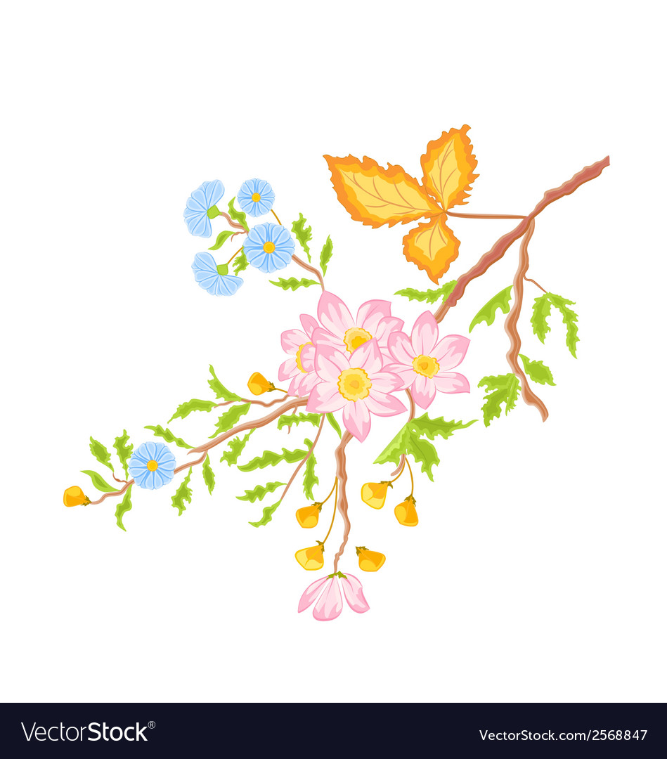 Twig shrub whit spring flowers vector | Price: 1 Credit (USD $1)