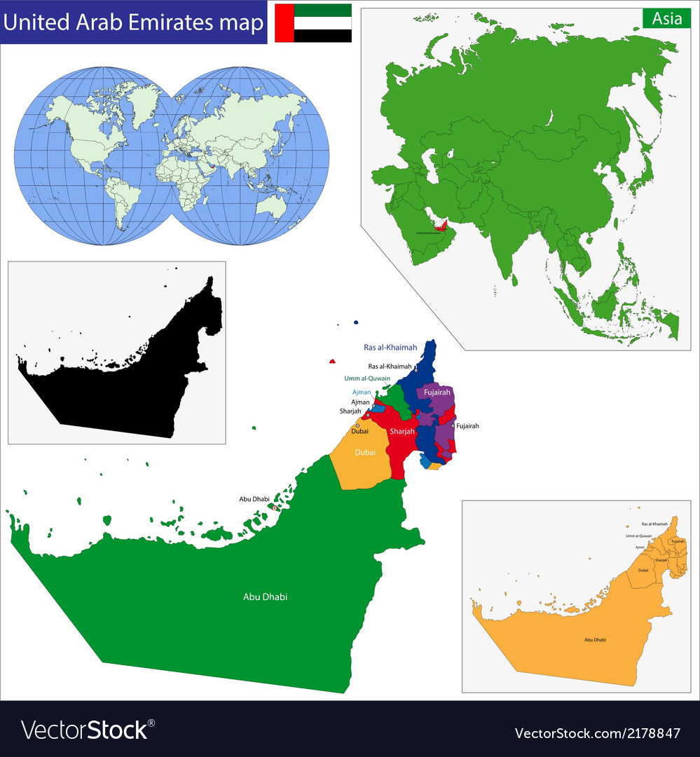 United arab emirates map vector | Price: 1 Credit (USD $1)