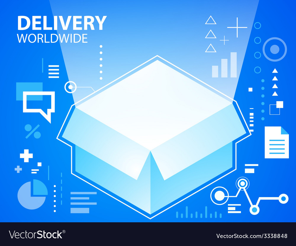 Bright delivery box on blue background for b vector | Price: 3 Credit (USD $3)