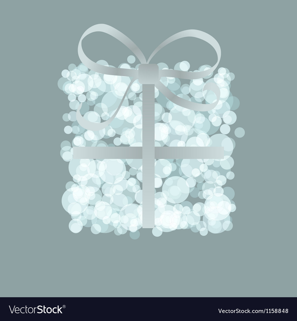 Card with present box from snowballs bow  eps8 vector | Price: 1 Credit (USD $1)