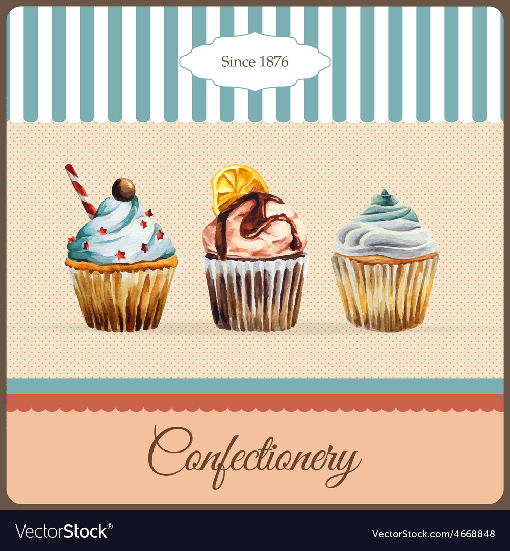 Confectionery advertisement with watercolor vector | Price: 1 Credit (USD $1)
