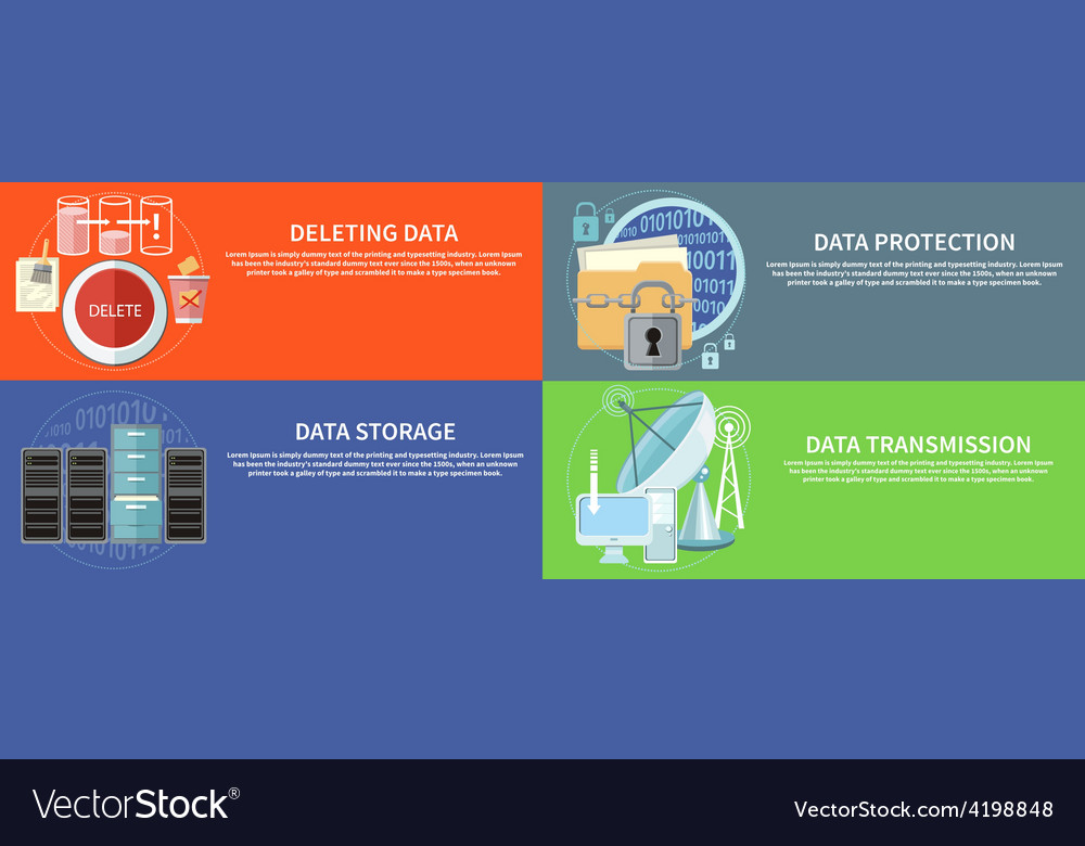 Data protection transmission storage and delete vector | Price: 1 Credit (USD $1)