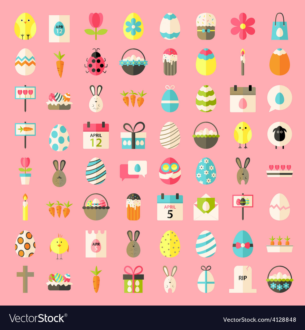 Easter flat style icons vector | Price: 1 Credit (USD $1)