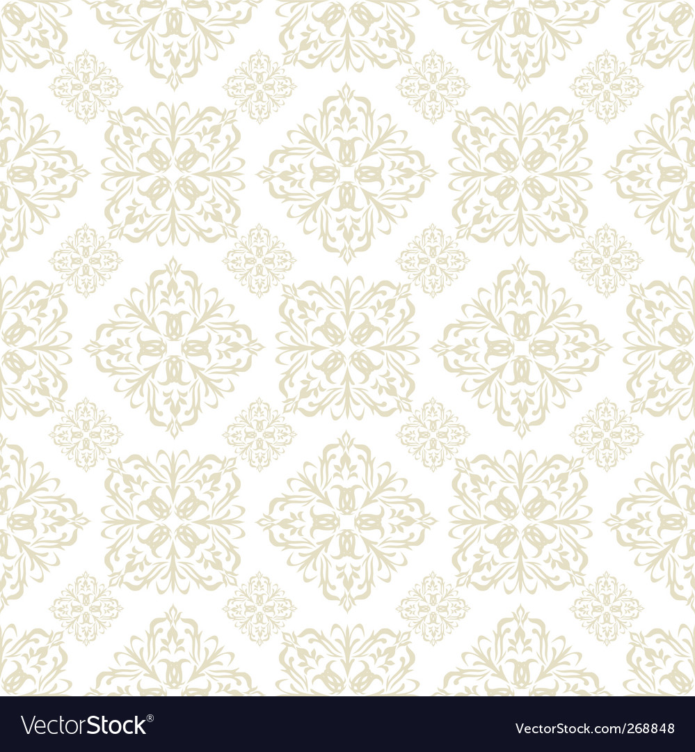 Floral wallpaper beige tile vector | Price: 1 Credit (USD $1)