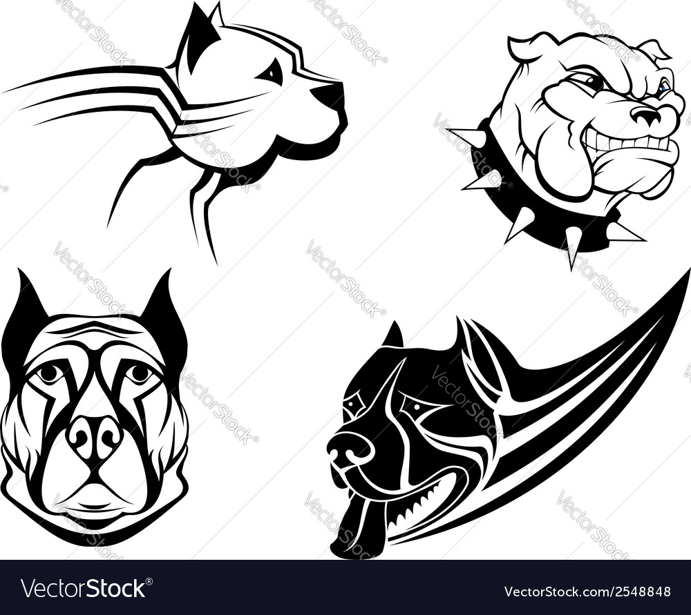 Guard powerful dogs set vector | Price: 1 Credit (USD $1)