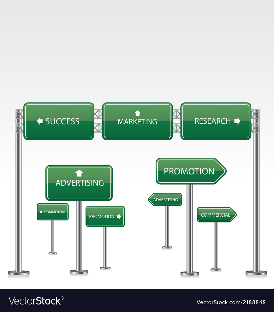 Marketing green road signs vector | Price: 1 Credit (USD $1)