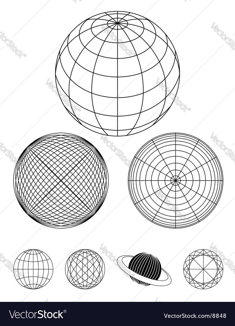 Outline globe vector | Price: 1 Credit (USD $1)