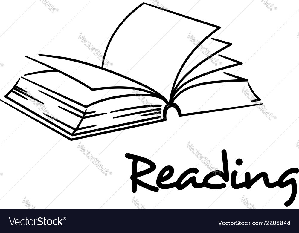 Reading icon with an open book vector | Price: 1 Credit (USD $1)