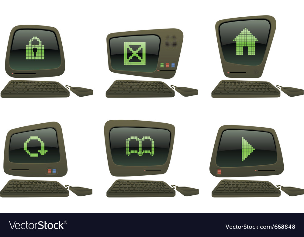 Retro computer set with internet browsing icons vector | Price: 3 Credit (USD $3)