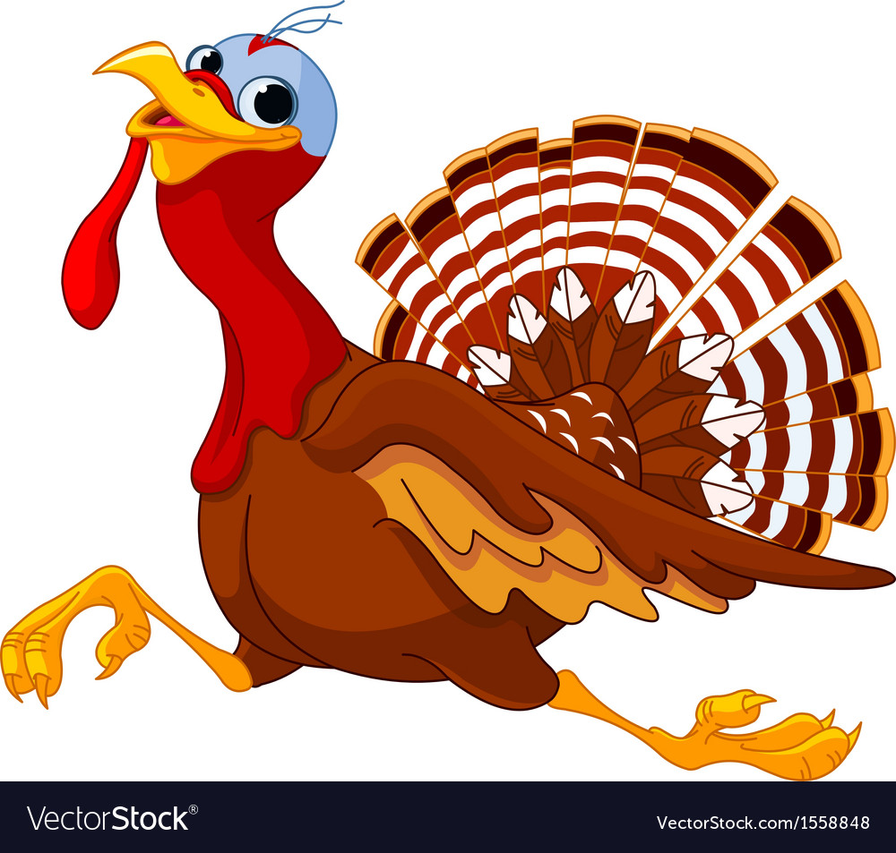 Running cartoon turkey vector | Price: 1 Credit (USD $1)