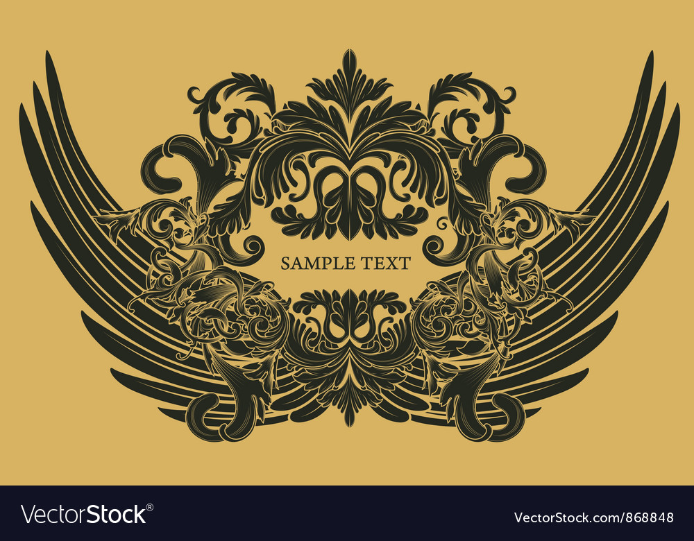 Vintage floral with wings vector   Price: 1 Credit (USD $1)