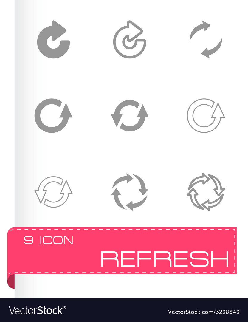 Black refresh icon set vector | Price: 1 Credit (USD $1)