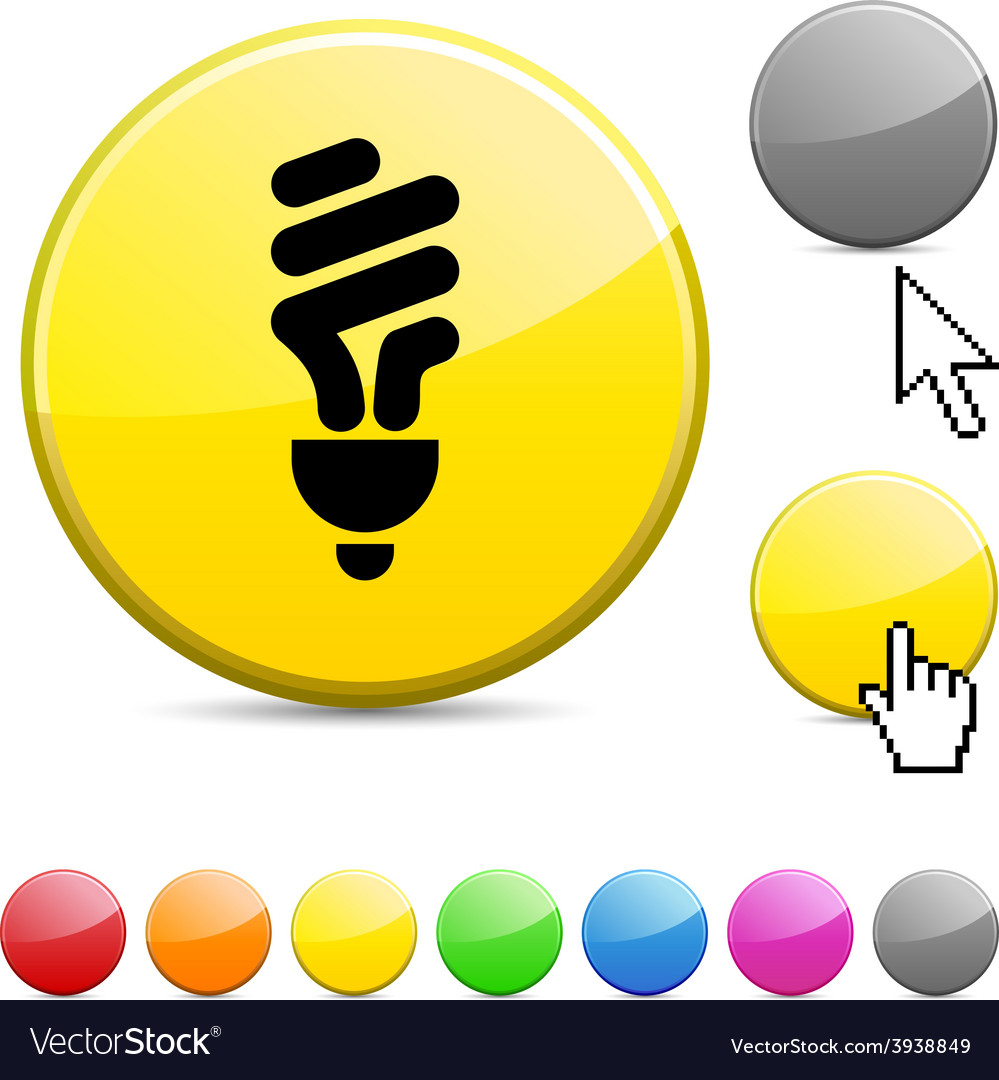 Fluorescent bulb glossy button vector | Price: 1 Credit (USD $1)