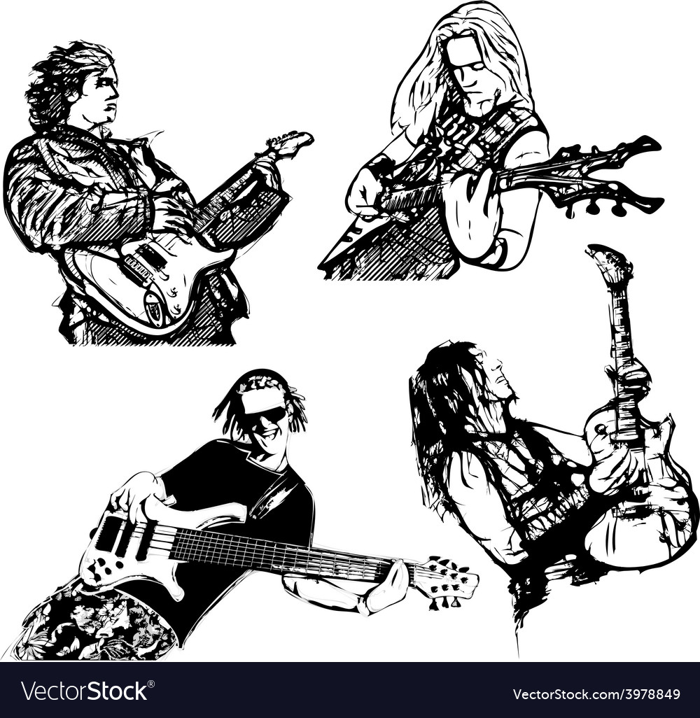 Four guitar players vector | Price: 1 Credit (USD $1)