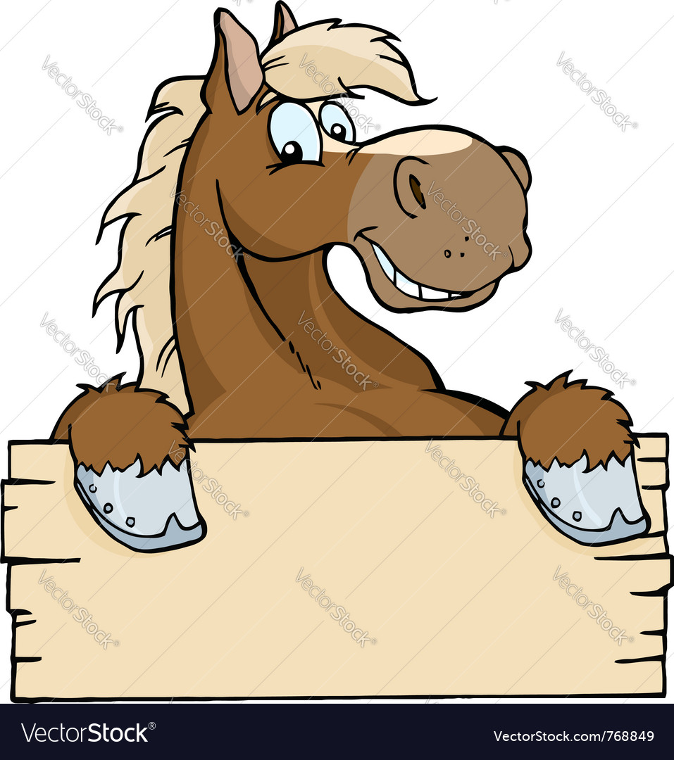 Horse with a blank sign vector | Price: 1 Credit (USD $1)