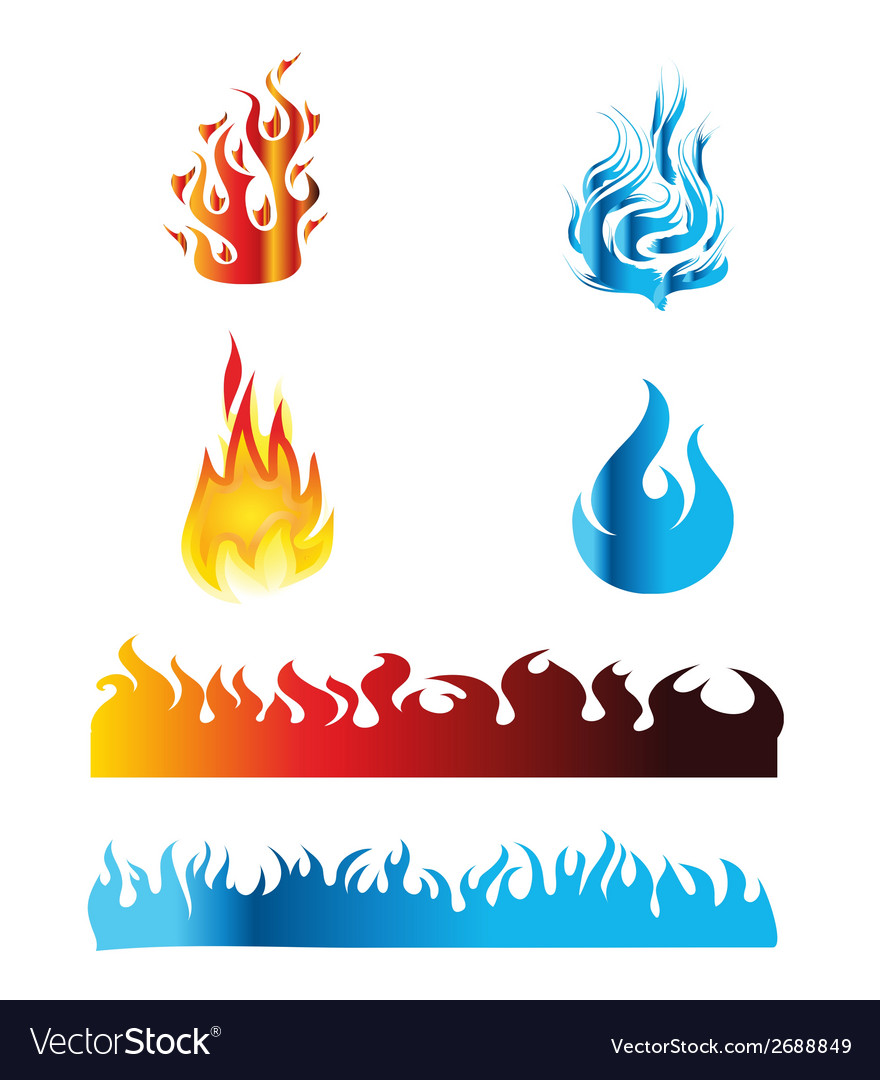Icon red and blue fire flame vector | Price: 1 Credit (USD $1)