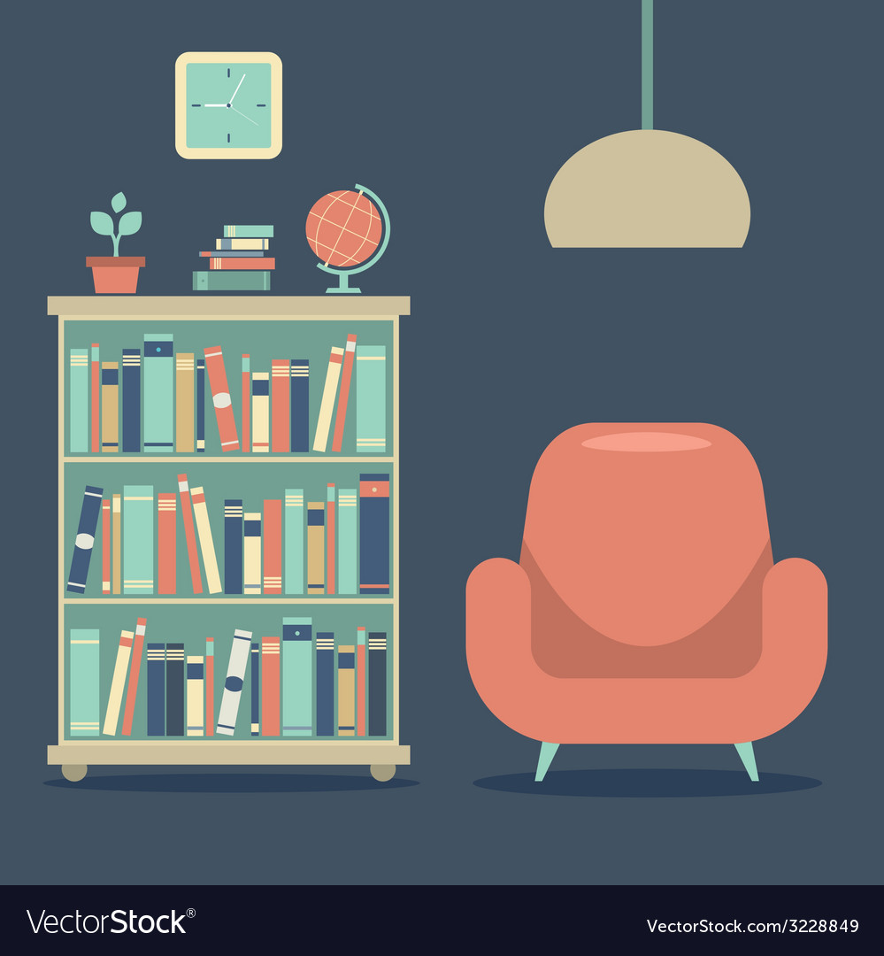 Modern design interior sofa and book cabinet vector | Price: 1 Credit (USD $1)