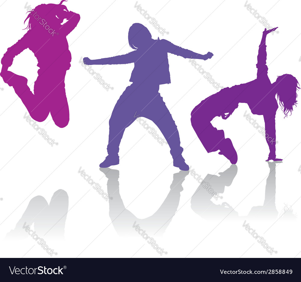 Silhouettes of girls dancing hip-hop dance vector | Price: 1 Credit (USD $1)