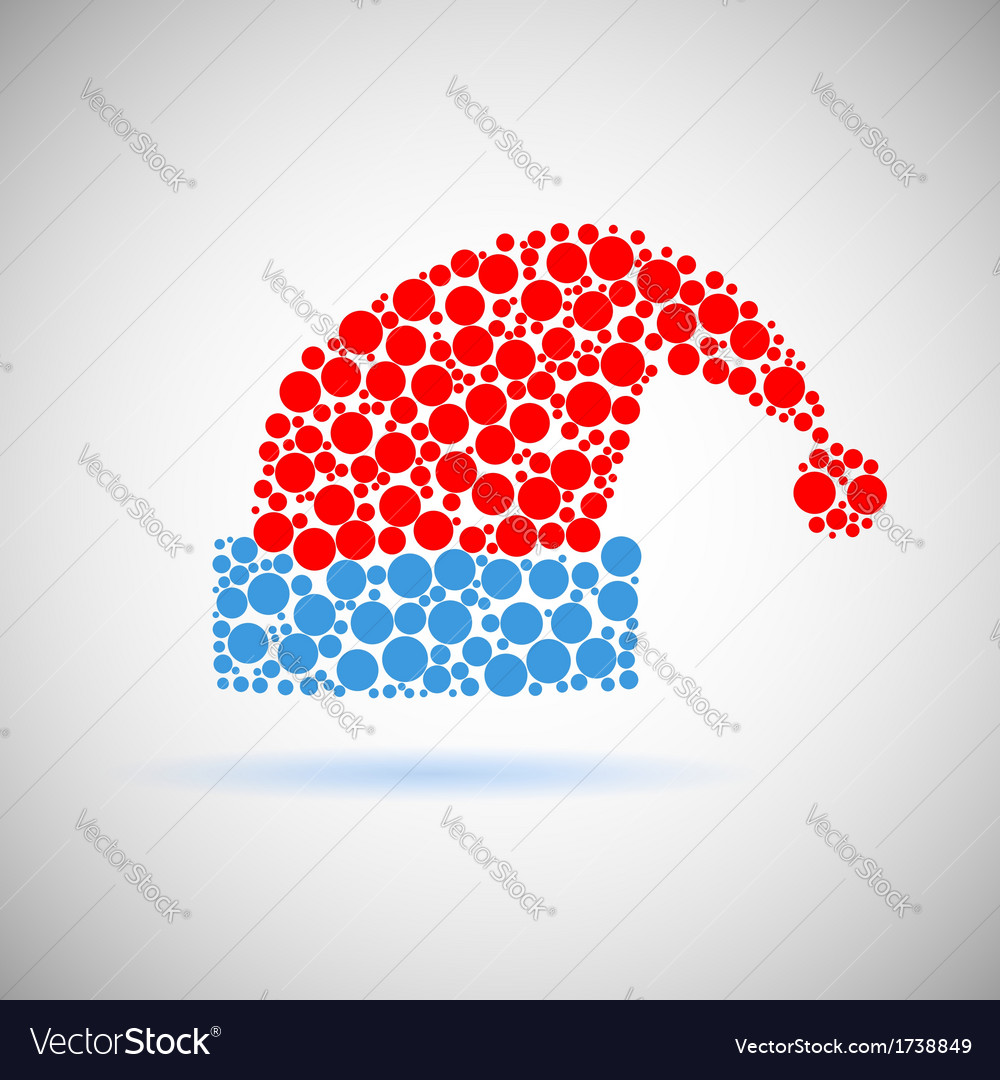 Single santa claus red hat icon made of circles vector | Price: 1 Credit (USD $1)