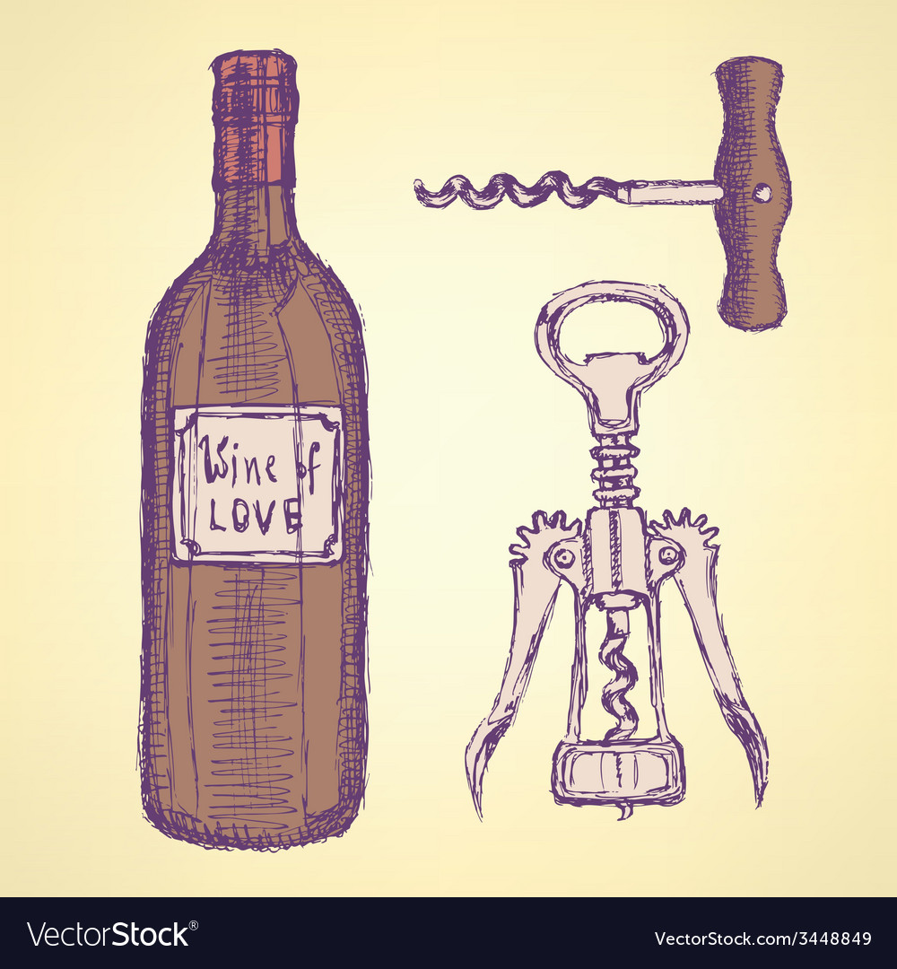 Sketch wine set in vintage style vector | Price: 1 Credit (USD $1)