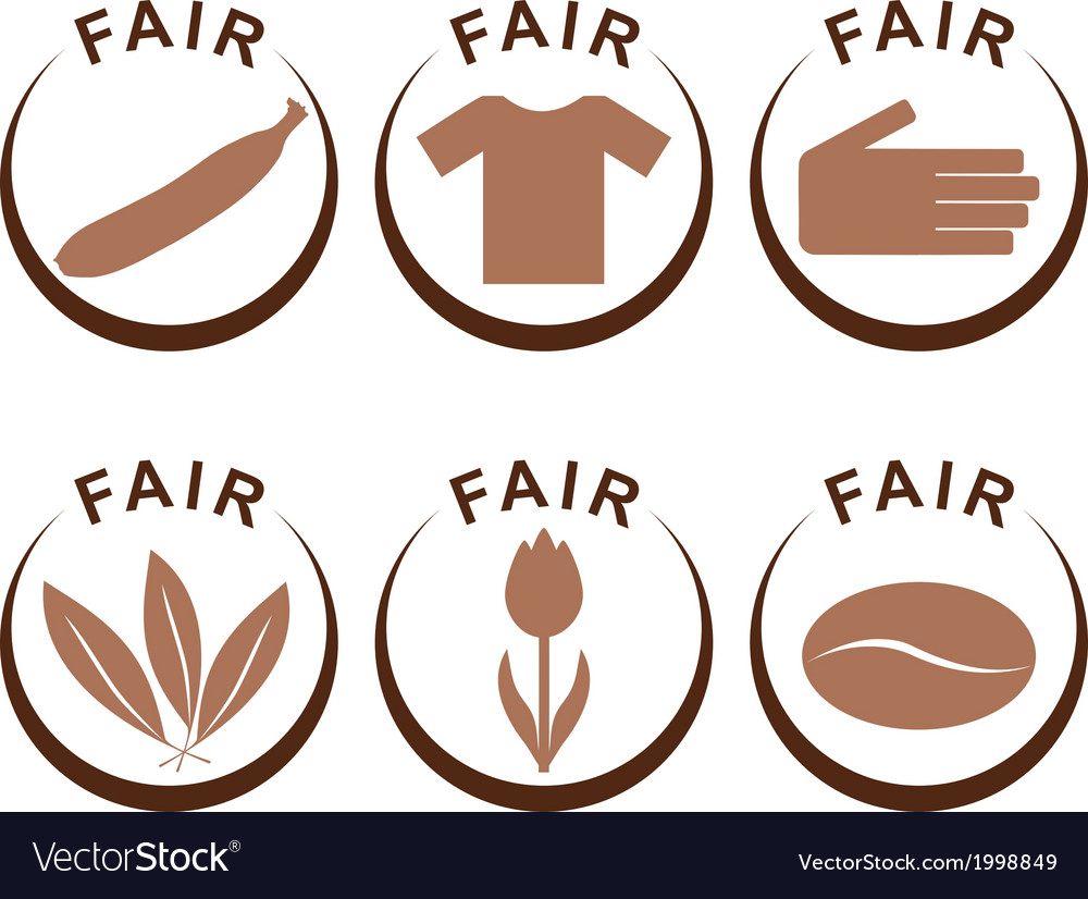 Symbols and products of fair trade vector | Price: 1 Credit (USD $1)