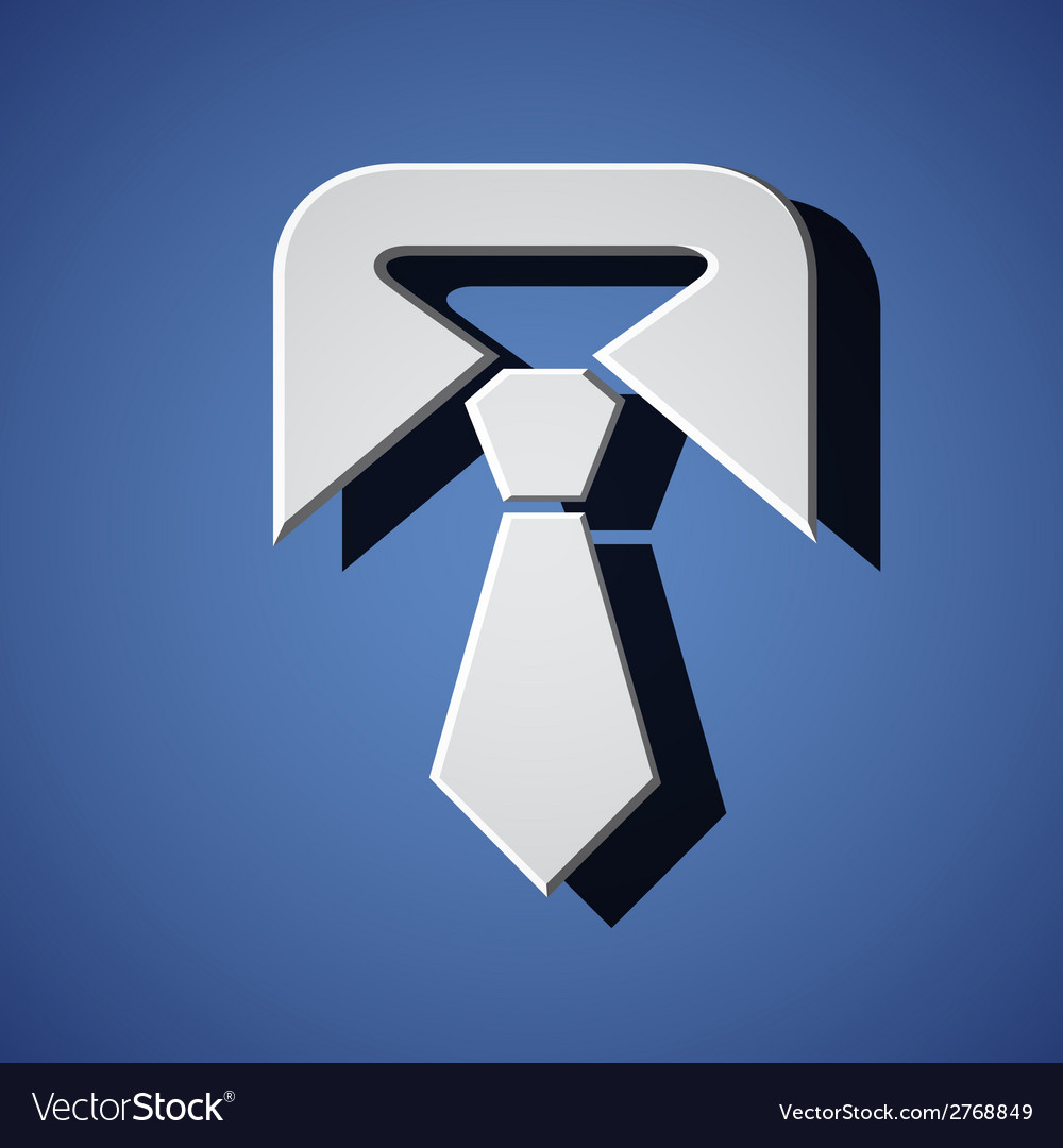 Tie white symbol vector | Price: 1 Credit (USD $1)