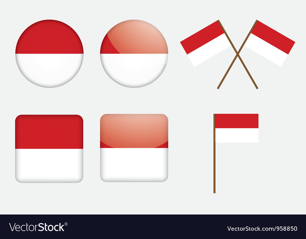 Badges with flag of indonesia vector | Price: 1 Credit (USD $1)