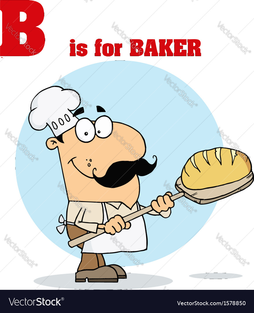Baker cartoon with letter vector | Price: 1 Credit (USD $1)
