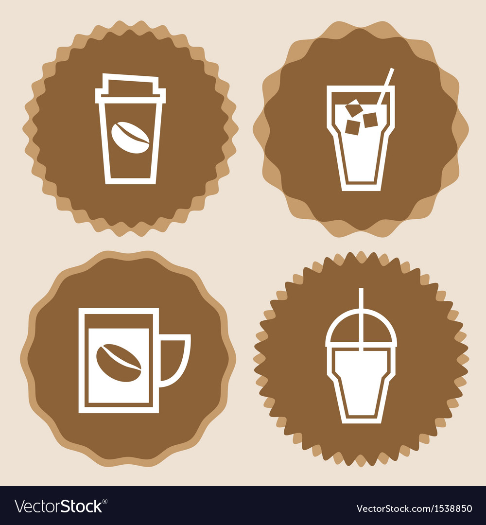 Coffee cup icons badge set vector | Price: 1 Credit (USD $1)