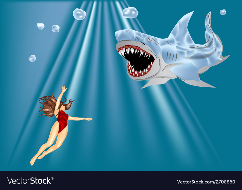 Diver and shark vector | Price: 1 Credit (USD $1)