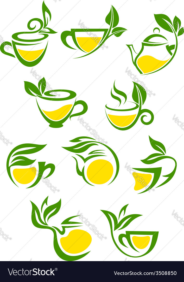 Green or herbal tea with lemon icon set vector | Price: 1 Credit (USD $1)