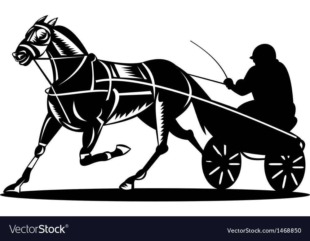 Horse and jockey harness racing vector | Price: 1 Credit (USD $1)
