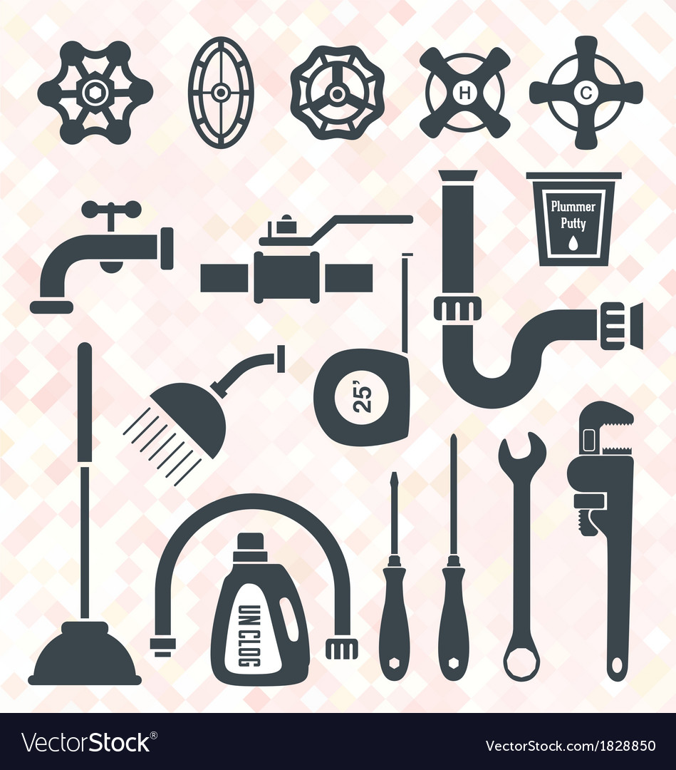 Plumbing service objects and tools vector | Price: 1 Credit (USD $1)