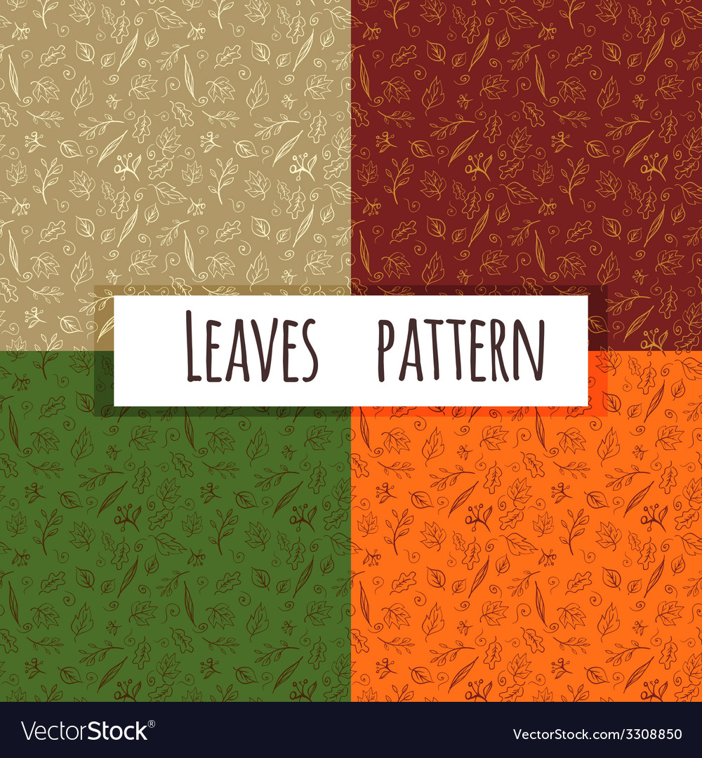 Seamless leaves doodle vector | Price: 1 Credit (USD $1)