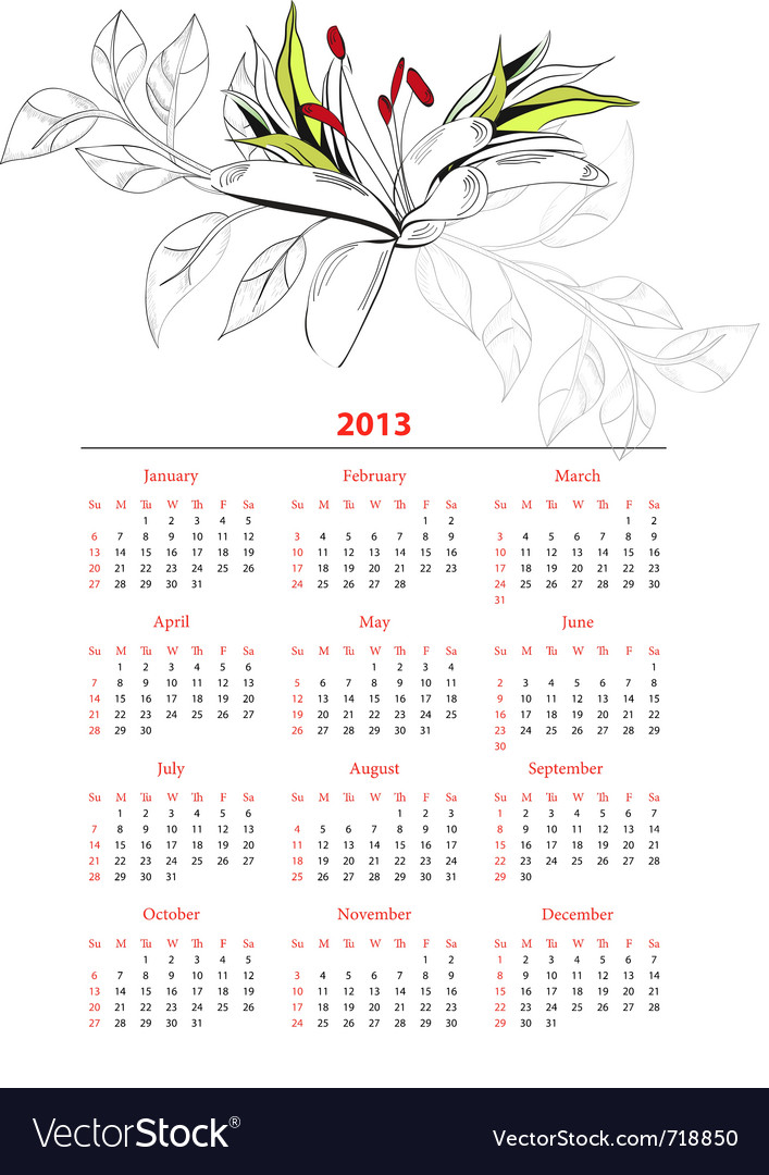 Template for calendar 2013 with flowers vector | Price: 1 Credit (USD $1)