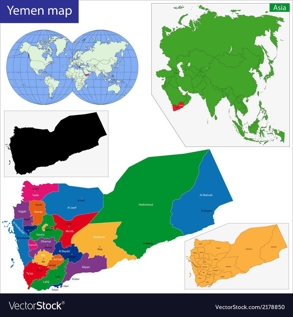 Yemen map vector | Price: 1 Credit (USD $1)