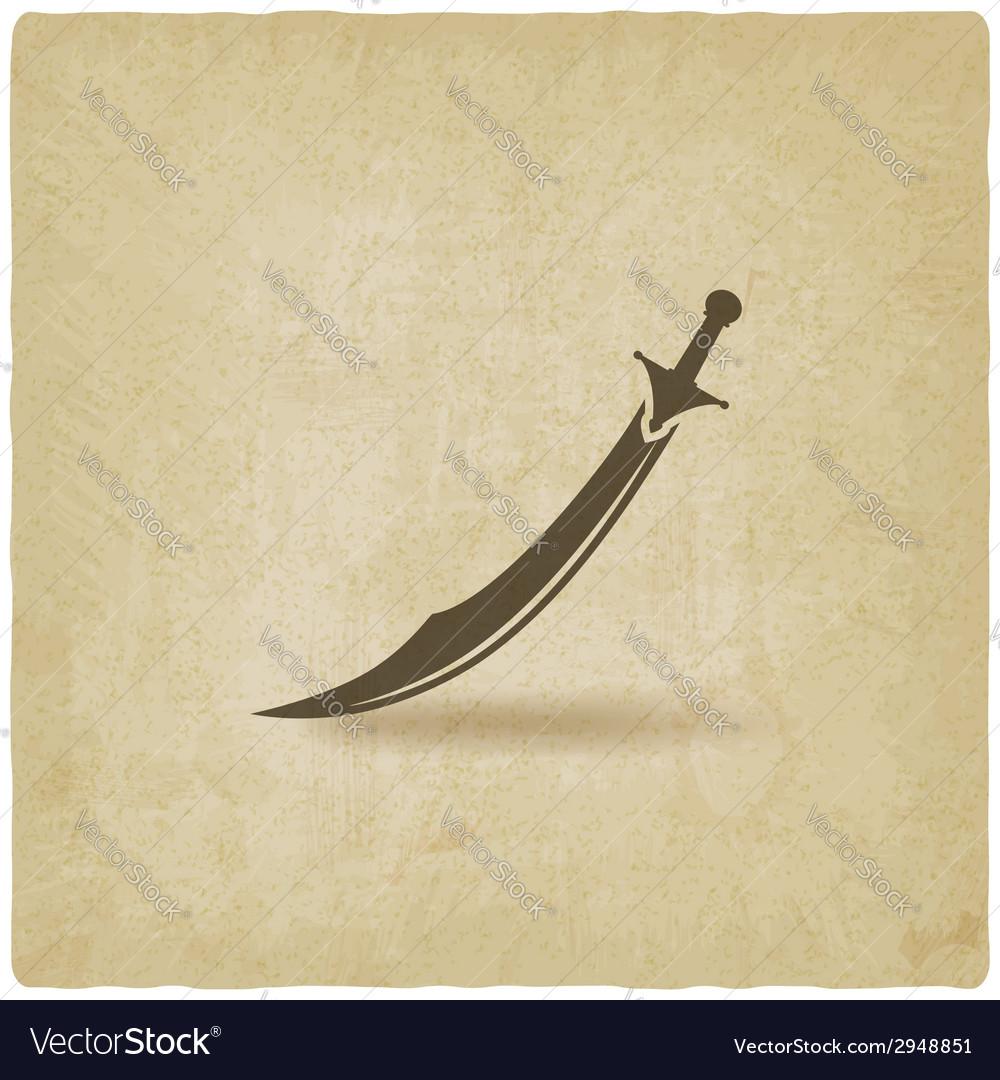 Arabian saber scimitar old background vector | Price: 1 Credit (USD $1)