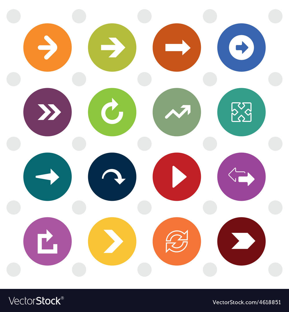 Arrow sign icons colored circle shape vector | Price: 1 Credit (USD $1)